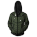 Arrow 3D Printed Cosplay Costume Long Sleeve Green Zip Up Drawstring Hoodie