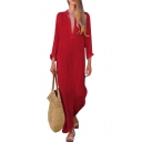 Women's Stylish Simple Plain V-Neck Long Sleeve Maxi Linen Shift Kaftan Dress