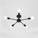 Black Branch Semi Flush Mount Modern Industrial Metal 5/6/8 Lights Ceiling Flush Mount for Living Room