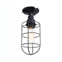 Nautical Wire Cage Flushmount Metallic 1 Light Indoor Lighting in Textured Black/Antique Silver/Antique Bronze for Farmhouse