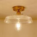 1 Light Shallow Round Semi Flushmount Retro Style Textured Glass Indoor Lighting in Satin Brass for Sitting Room