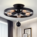 5 Lights Wheel Ceiling Fixture Industrial Loft Style Metal Flushmount with Hanging Ball in Black