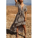 Fashion Leopard Printed Short Sleeve Bow-Tied V Neck Layered Swallowtail Asymmetrical A-Line Dress