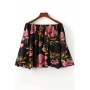 Summer New Trendy Floral Printed Off the Shoulder Long Sleeve Blouse Top