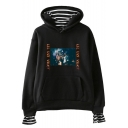 American Rapper Stylish Pattern Stripe Patched Long Sleeve Pullover Casual Loose Hoodie