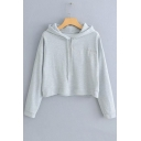 Simple Letter Embroidered Chest Long Sleeve Cropped Loose Drawstring Hoodie