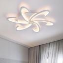 Post Modern Windmill Lighting Fixture Acrylic 3/6 Heads LED Semi Flush Light in White/Warm/Neutral