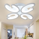 Round Canopy LED Ceiling Lamp with U Shape Modern Chic Acrylic 4/6 Lights Semi Flush Light in White