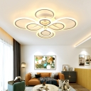 Metal Round Canopy Ceiling Lamp Minimalist Multi Lights Lighting Fixture in Warm/White
