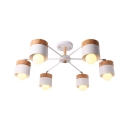 6 Lights Branch Chandelier with White Cylinder Shade Modern Fashion Wooden Suspended Light