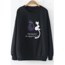 Lovely Sweet Cartoon Cat Letter Embroidered Long Sleeve Loose Fit Sweatshirt