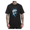 Cool 3D Poker Clown Printed Crewneck Short Sleeve Black Oversize T-Shirt