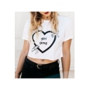 Fashion Heart Letter GIRl GANG Printed Short Sleeve Cropped White T-Shirt