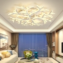 Modernism Branch LED Ceiling Fixture Metallic Multi Lights Semi Flush Light for Coffee Shop
