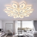 White Tiered Indoor Lighting Fixture with Acrylic Shade Modern Multi Light LED Semi Flush Mount Light