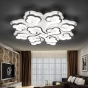 White Cloud Semi Flush Mount Contemporary Acrylic Multi Light Ceiling Lamp for Restaurant
