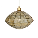 Brass Finish Cocoon Shape Hanging Lamp Vintage Shelly Single Head Suspension Light for Corridor