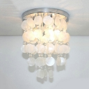 3 Heads Round Canopy Flush Mount Nordic Style Shelly Ceiling Lamp in Chrome for Hallway