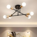 Modern Crossed Lines Semi Flush Light Metallic 6 Bulbs Decorative Lighting Fixture in Brass