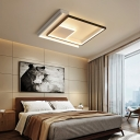 Modern Fashion Squared Flush Lighting Acrylic Shade LED Ceiling Lamp in Neutral Light