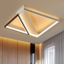 Acrylic Geometric LED Ceiling Fixture Contemporary Flush Lighting in Neutral for Gallery Aisle