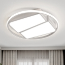 White Trapezoid Ceiling Lamp with Circular Ring Modern Fashion Metal LED Flush Light for Bedroom