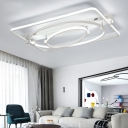 Modern Linear Canopy Ceiling Fixture Metal LED Semi Flush Mount Light in White for Living Room