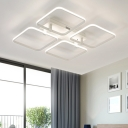 Modern Design Ultra Thin Semi Flush Light with 2/4/6/9 Square Ring Metallic LED Indoor Lighting