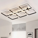 Square Frame Semi Flush Light Simplicity Metallic Multi Lights LED Indoor Lighting in Black and White