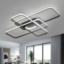 Ultra Thin Oblong Flush Light Fixture Modern Fashion Aluminum LED Flush Mount in Warm/White