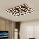 Geometric Pattern Flush Mount Light Modern Design Metal LED Ceiling Lamp in Warm/White