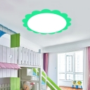 Green/Pink Flower Design Ceiling Lamp Acrylic LED Ceiling Flush Mount for Amusement Park