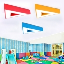 Triangle LED Flush Mount Blue/Red/Yellow Metal Ceiling Lamp for Nursing Room