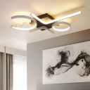 3/4 Lights Geometric Pattern Ceiling Lamp Nordic Style Silicon Gel Surface Mount LED Light in White