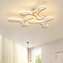 Metallic Snowflake LED Ceiling Fixture Modern 3/4 Lights Energy Saving Flushmount in White