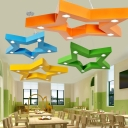 Five-pointed Star LED Pendant Light Colorful Metallic Hanging Light Fixture for Boys Girls Room