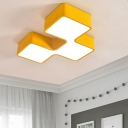 Toy Block LED Flushmount Blue/Green/Red/Yellow Acrylic Ceiling Lamp for Nursing Room