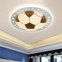 Black Football LED Flush Mount Modern Acrylic Lighting Fixture for Boys Room