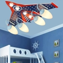 Acrylic Flush Mount with Airplane Design Blue 4 Heads Ceiling Light for Kindergarten Boys Room