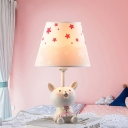 Lovely Bunny Single Light Table Lamp with Star Design Fabric Shade White Desk Light for Children