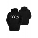 Unique Game Circle Heart Printed Long Sleeve Pullover Black Hoodie