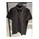 Fashion All Over Crown Embroidered Black Short Sleeve Classic-Fit Polo Shirt