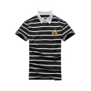 Men's Summer Classic Stripe Printed Short Sleeve Casual Logo Polo Shirt