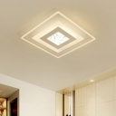 Modernism Square LED Lighting Fixture with Geometric Pattern Acrylic Flushmount in Warm/White