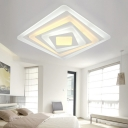 Simple Concise Multi-Layer Ceiling Fixture with Square Acrylic Shade LED Flush Mount in Warm/White