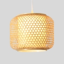 Weave Bucket Shade Indoor Lighting Fixture Minimalist Single Head Pendant Light in Wood