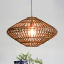 Weave Geometric Suspension Light Natural Modern 1 Light Hanging Light Fixture for Sitting Room
