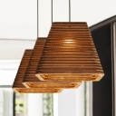 Nordic Style Pyramid Pendant Light Paper 1 Bulb Drop Ceiling Lighting in Brown for Restaurant