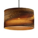 Drum Suspension Light with Brown Paper Shade Modern Chic Single Head Ceiling Pendant Lamp