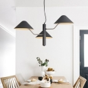Mushroom Suspended Light Modernism Metal Triple Lights Chandelier in Black for Living Room